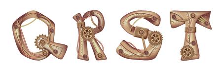 Symboles de l'alphabet latin QRS T. Les lettres de la langue anglaise. Mécanismes en cuivre et laiton avec tubes, engrenages et rivets. Librement modifiable isolé sur fond blanc.