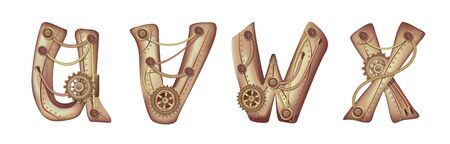 Symbols of the Latin alphabet U V W X. The letters of the English language. Copper and brass mechanisms with tubes, gears and rivets. Freely editable isolated on white background.