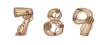 Arabic numeral 7 8 9 in the form of a steampunk mechanism. Copper and brass with tubes, gears and rivets. Freely editable isolated on white background.