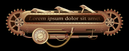Freely editable mechanical banner decorated with brass gears, nozzles and rivets on a black Steampunk background. Illustration