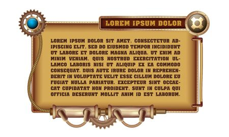 Freely editable mechanical banner decorated with brass gears, nozzles and rivets on a white Steampunk background.