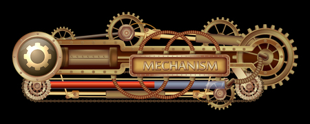 Mechanical banner decorated with brass gears, nozzles and rivets on a black Steampunk background.
