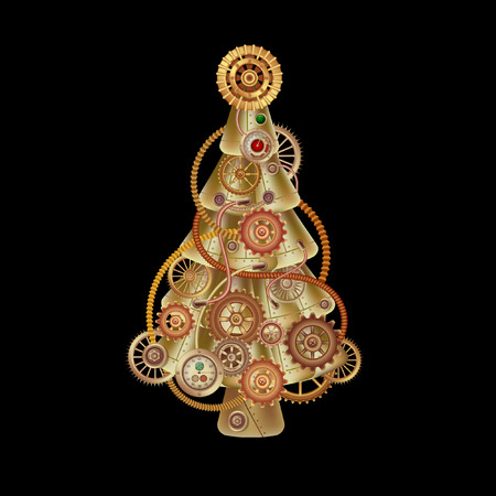 Christmas tree in the form of a steampunk mechanism. Copper and brass with tubes, gears and rivets. Freely editable isolated on black background. Ilustração