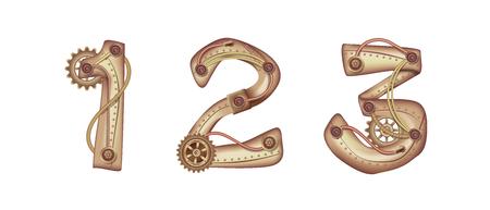 Chiffre arabe 1 2 3 en forme de mécanisme steampunk. Cuivre et laiton avec tubes, engrenages et rivets. Librement modifiable isolé sur fond blanc.