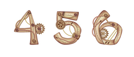 Arabic numeral 4 5 6 in the form of a steampunk mechanism. Copper and brass with tubes, gears and rivets. Freely editable isolated on white background.