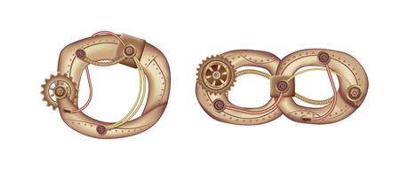 Arabic numeral 0 and infinity sign in the form of a steampunk mechanism. Copper and brass with tubes, gears and rivets. Freely editable isolated on white background.