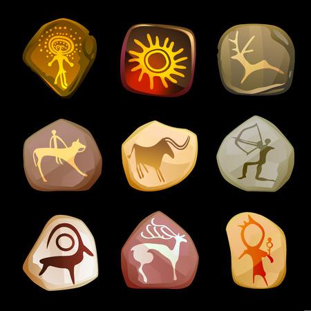 Rock Painting set. Primitive art. Vector interpretation of real-life drawings of ancient people.