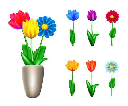 Garden flowers isolated on white vector set. Ilustração