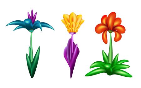 Set of fantastic flowers isolated on white background. Ilustração