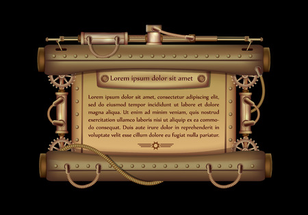 Freely editable mechanical banner decorated with brass gears, nozzles and rivets on a black Steampunk background. Иллюстрация
