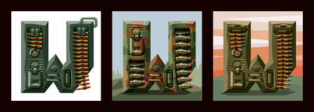 Set letters W military alphabet font. Vector imitation of old pixel games, limited number of colors and rough shapes, decorated with machine-gun belts and mechanisms on the background of heavy armor. Ilustração
