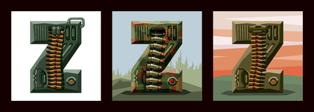 Set letters Z military alphabet font. Vector imitation of old pixel games, limited number of colors and rough shapes, decorated with machine-gun belts and mechanisms on the background of heavy armor.