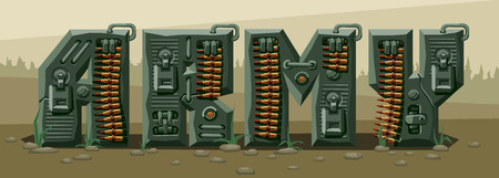 Word army. Military alphabet font. Vector imitation of old pixel games, limited number of colors and rough shapes, decorated with machine-gun belts and mechanisms on the background of heavy armor.