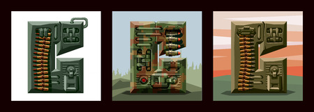 Set letters C military alphabet font. Vector imitation of old pixel games, limited number of colors and rough shapes, decorated with machine-gun belts and mechanisms on the background of heavy armor.