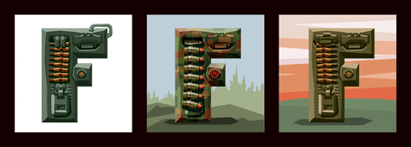 Set letters F military alphabet font. Vector imitation of old pixel games, limited number of colors and rough shapes, decorated with machine-gun belts and mechanisms on the background of heavy armor.