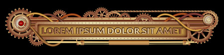 Mechanical fantastic Steampunk banner decorated with brass gears, nozzles and rivets on a black backgrounde.