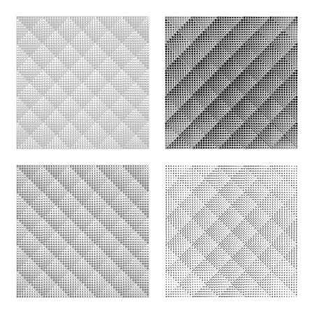 Set black-white seamless patterns. Abstract Futuristic Wrapping Paper Background. Vector Regular 3d Texture. Modern Volume Geometric Design.