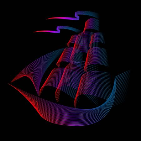 Sailing boat . Vector logo template and badge on dark background.