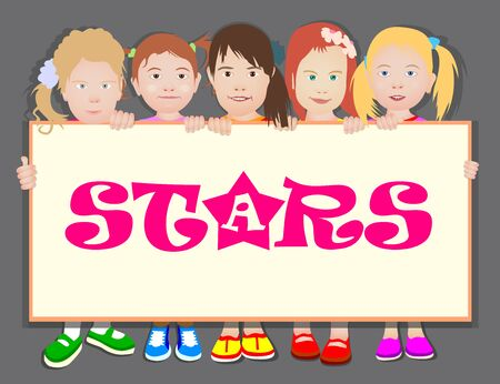 Girls are holding a horizontal banner. Template, flyer, place for text, copy space. Cartoon isolated on monochrome background. Ilustração