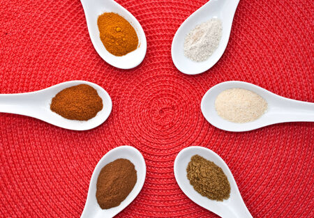 Various spices colourfully arranged
