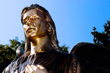 Bronze Angel in the bright sunshine