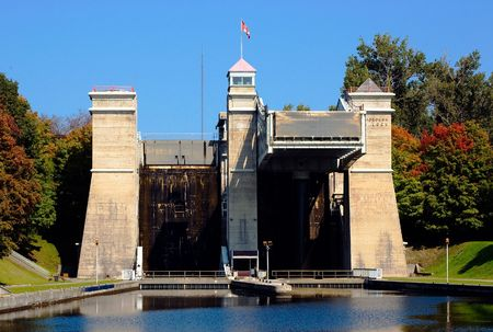 The Peterborough Liftlocks on a bright autumn day
