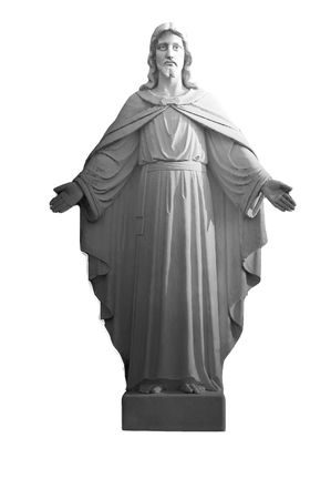 A statue of Jesus Christ, in Black and White Stock Photo