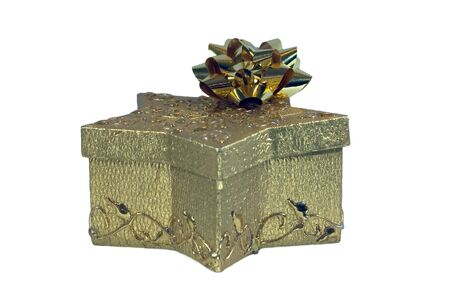 A golden gift box, with bow