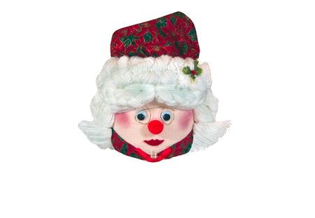 A portrait of Mrs Claus, made in wool
