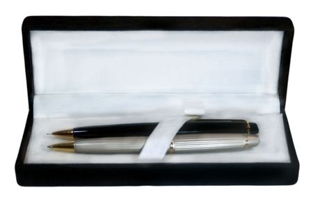 A pen and pencil gift set in black box Stock Photo