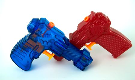 A red and blue water pistol isolation