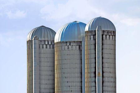 Three silos on a farm on a blue sky background Stock Photo - 3686052
