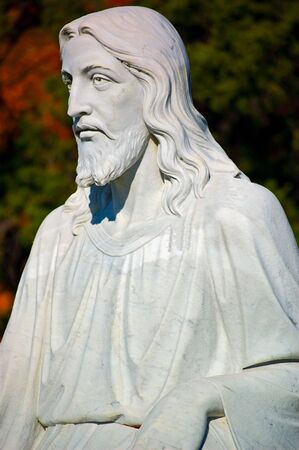 Statue of Jesus in a graveyard