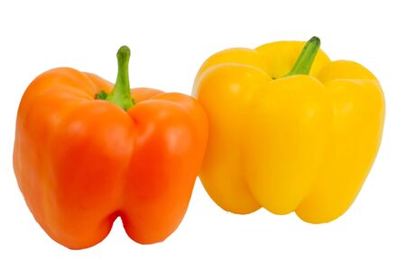 A yellow and orange pepper