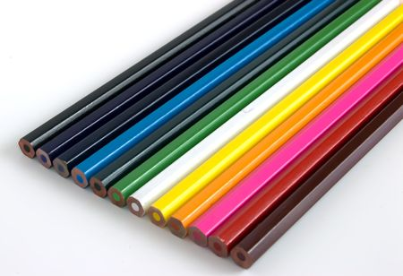 A set of colorful pencil crayons photo