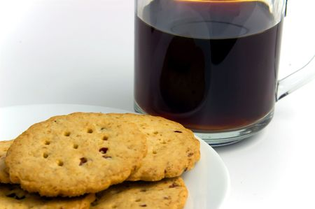 A plate of cookies and a cup of coffee Stock Photo