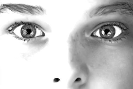 A young boys stare in black and white Stock Photo