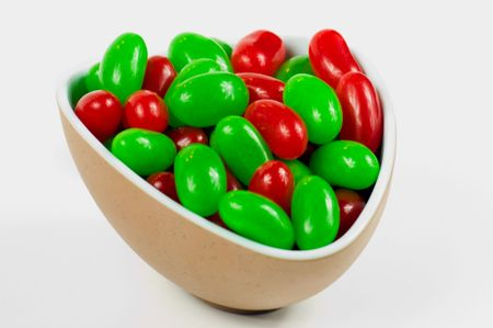 A bowl full of red and white jellybeans for Christmas