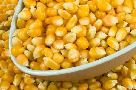 Macro of a scoop of popcorn kernels Stock Photo
