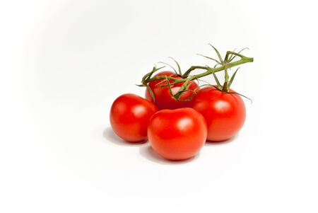 Four tomatoes, still on the vine