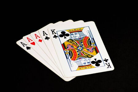 Poker Hand - Four Aces with a King Kicker