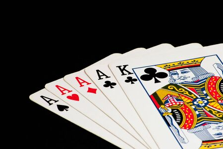Poker Hand - Four Aces with a King Kicker - Closeup