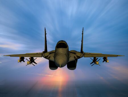 Combat Military warfare Fighter Jet in the sky background