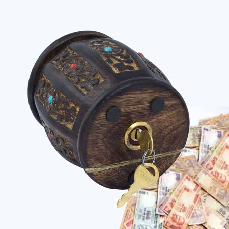 Wooden Piggy Bank for child to collect currency coin savings