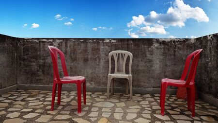 Chairs on the roof with sky background Stok Fotoğraf