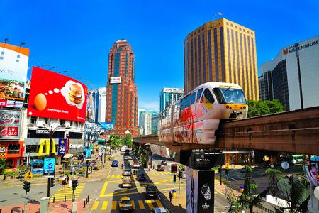 Monorail at Jalan Bukit Bintang, Kuala Lumpur, Malaysia.