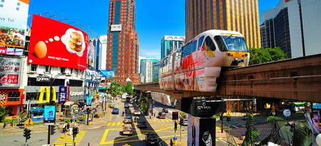 Monorail at Jalan Sultan Ismail, Kuala Lumpur, Malaysia.
