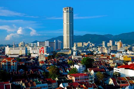 pinang: KOMTAR Tower, or Menara KOMTAR Complex, Georgetown, Penang, Malaysia.