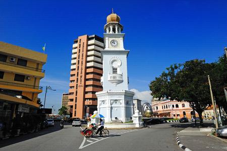 trishaw: Jubilee Clock Tower, George Town, Penang, Malaysia. Editorial