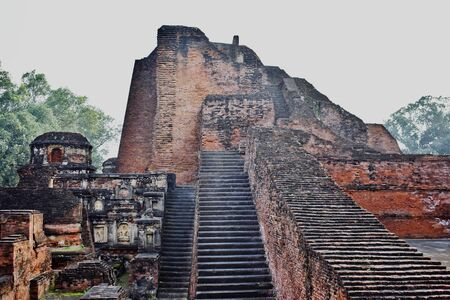 Ruins of Nalanda University at Nalanda, Bihar in India